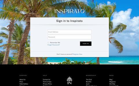 Screenshot of Login Page inspirato.com - Login | Inspirato - captured Dec. 6, 2019