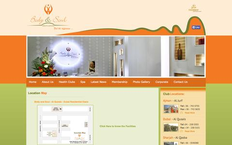 Screenshot of Locations Page bodyandsoulhealthclub.com - Body & Soul Healthclub,Spa-Best Healthclub in UAE-Ajman,Dubai,Sharjah - captured Oct. 5, 2014
