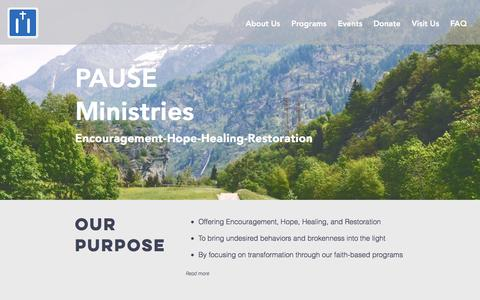 Screenshot of Home Page pauseministries.org - Christ-Centered Programs | Basking Ridge | Pause Ministries - captured May 14, 2017