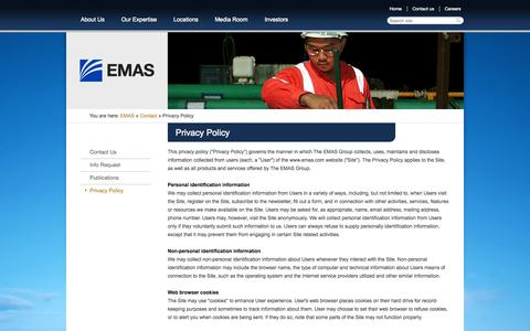 Screenshot of Privacy Page emas.com - Privacy Policy | EMAS - Global Offshore Marine Construction Contractor - captured Sept. 19, 2014