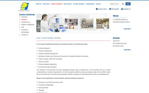 Screenshot of Services Page piindustries.com - Contract Research, Process Development, Analytical Method Development - PI Industries | Piindustries - captured Oct. 1, 2014
