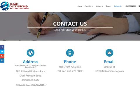 Screenshot of Contact Page clarkoutsourcing.com - Contact Us – Clark Outsourcing - captured Jan. 18, 2017