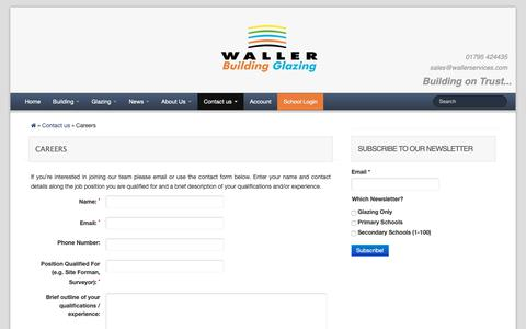 Screenshot of Jobs Page wallerservices.com - Careers at Waller Associates Ltd - captured Oct. 18, 2018