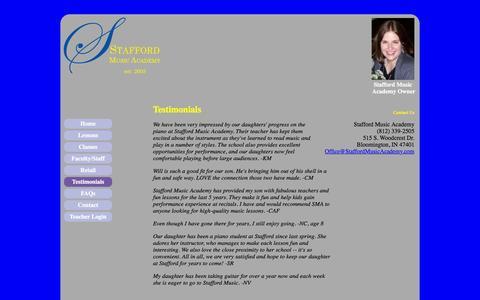 Screenshot of Testimonials Page staffordmusicacademy.com - Stafford Music Academy - High-quality music lessons - captured Feb. 22, 2016