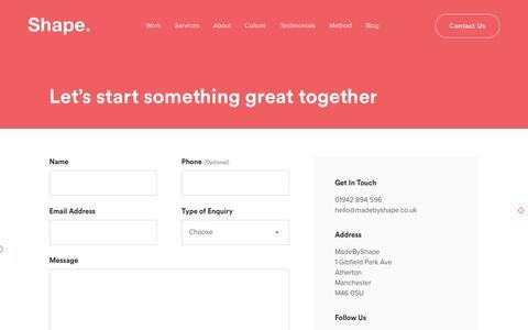 Screenshot of Contact Page madebyshape.co.uk - Contact Shape Web Design Studio Manchester | MadeByShape - captured July 13, 2019