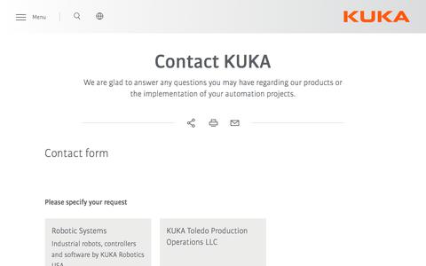Screenshot of Contact Page kuka.com - Contact sales | KUKA AG - captured Aug. 22, 2019