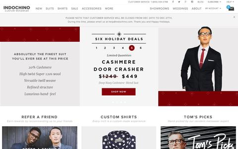 Screenshot of Home Page indochino.com - Custom Suits & Mens Suits - captured Dec. 22, 2015