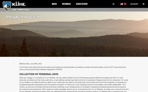 Screenshot of Privacy Page kuhl.com - KÜHL Clothing Privacy Policy | Born in the Mountains - captured Sept. 1, 2018