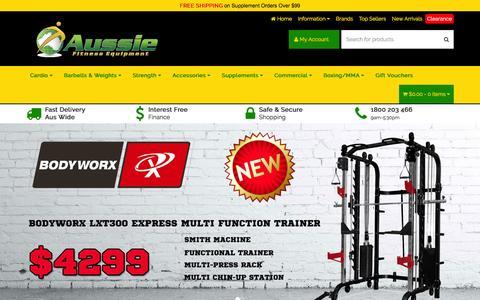 Screenshot of Home Page aussiefitness.com.au - Cheap Gym & Fitness Equipment Perth, Sydney, Adelaide, Brisbane & Melbourne - captured Feb. 6, 2016