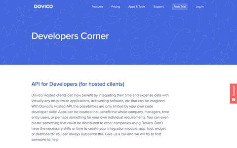 Screenshot of Developers Page dovico.com - DOVICO - Time-sheets Software - Developers Corner - Developers - captured Sept. 30, 2018