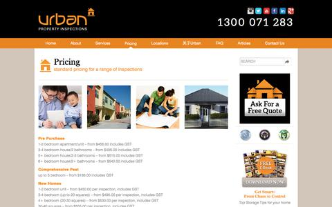 Screenshot of Pricing Page urbanpropertyinspections.com.au - Pricing - captured June 12, 2017