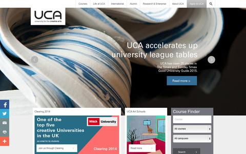 Screenshot of Home Page ucreative.ac.uk - Specialist degrees and courses in creative subjects | UCA - captured Sept. 25, 2014