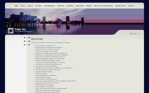 Screenshot of Services Page protecuk.com - Protec  UK - Services - captured Sept. 30, 2014