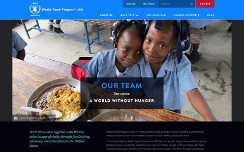 Screenshot of Team Page wfpusa.org - Our Team | World Food Program USA - captured Nov. 5, 2014