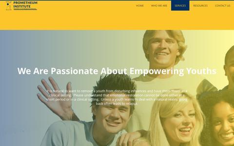 Screenshot of Services Page prometheum.ca - Services - Prometheum Institute - captured Nov. 12, 2016