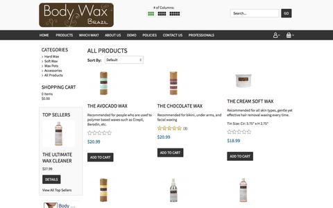 Screenshot of Products Page bodywaxbrazil.com - Body Wax BrazilOur Entire Hair Wax Product Range - captured July 29, 2016