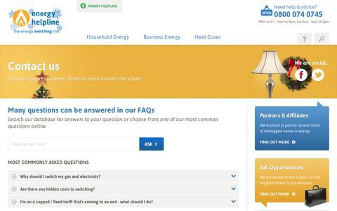 Screenshot of Contact Page energyhelpline.com captured Dec. 17, 2017