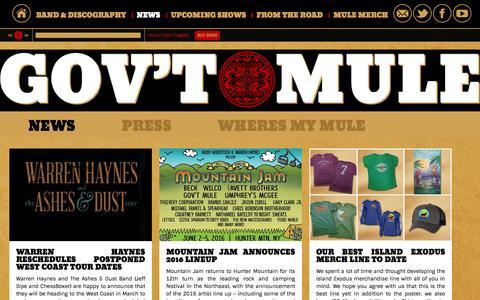 Screenshot of Press Page mule.net - News – Gov't Mule - captured Jan. 25, 2016