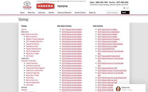 Screenshot of Site Map Page moderntoyota.com - Modern Toyota   New Inventory for sale in Winston Salem, NC 27127 - captured Nov. 19, 2017