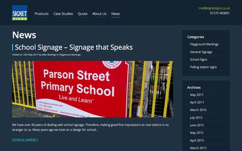 Screenshot of Press Page signetsigns.co.uk - Business & Commercial sign company in Bristol - captured Jan. 1, 2018