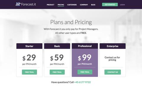 Screenshot of Pricing Page forecast.it - Pricing Information | Forecast.it - captured Oct. 1, 2014