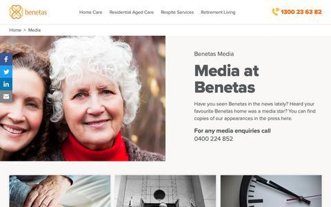 Screenshot of Press Page benetas.com.au - Media | Benetas - Living in good company - captured Oct. 31, 2018