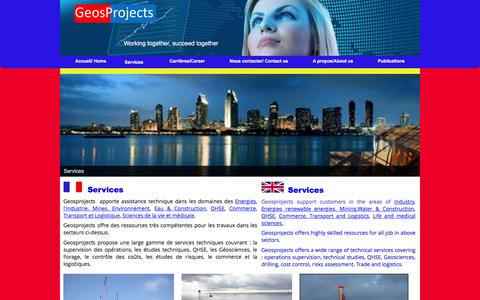 Screenshot of Services Page geosprojects.com - Services - GEOSPROJECTS - captured Dec. 5, 2015