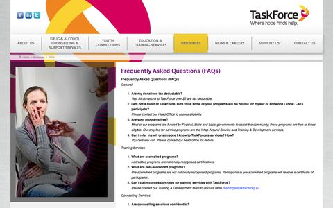 Screenshot of FAQ Page taskforce.org.au - TaskForce Community Agency - Frequently Asked Questions (FAQs) - captured Oct. 26, 2014