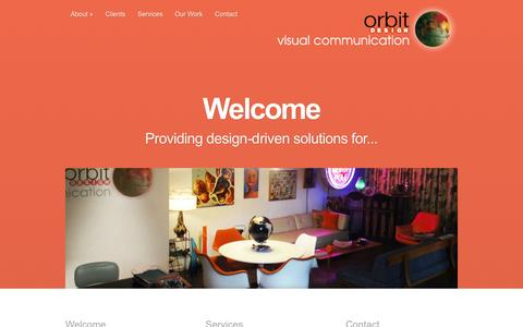 Screenshot of Home Page orbitdesign1.com - Orbit Design - design-driven visual communication & digital marketing - captured Sept. 22, 2015