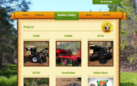 Screenshot of Products Page gvtrophy.com - Products | Golden Valley Enterprises: Food Plot Planter - captured Oct. 3, 2014