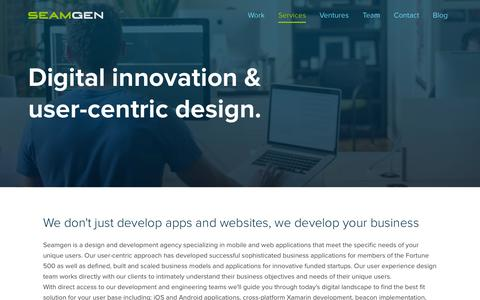 Screenshot of Services Page seamgen.com - Website Development Company San Diego | Website Design Company San Diego | Mobile Application Design San Diego | User Experience Design San Diego - captured Nov. 18, 2015