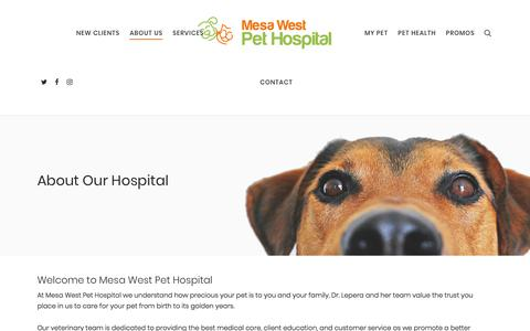 Screenshot of About Page mesawestpethospital.com - About Our Veterinary Hospital in Costa Mesa - captured Sept. 20, 2018