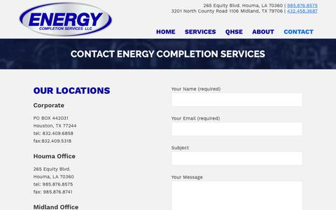 Screenshot of Contact Page energycompletion.com - Contact Information – Enery Completion - captured Sept. 28, 2018