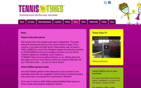 Screenshot of Press Page tennistykes.co.uk - News | Tennis coaching for kids in Harrogate, Ripon, York, Wetherby and Leeds | Tennis Tykes - captured Oct. 7, 2014