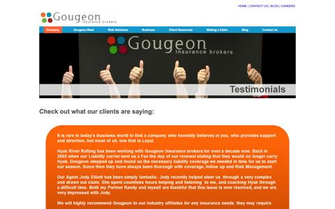 Screenshot of Testimonials Page gougeoninsurance.com - We want to hear from you! - captured Feb. 1, 2016