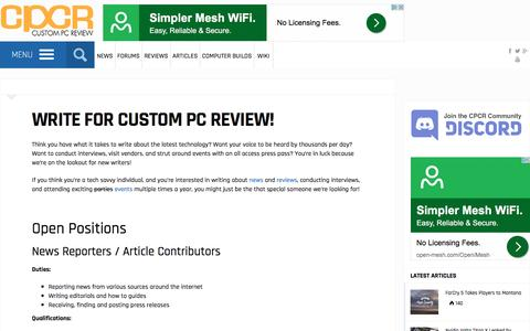 Screenshot of Jobs Page custompcreview.com - Write for Custom PC Review! | Custom PC Review - captured May 23, 2017