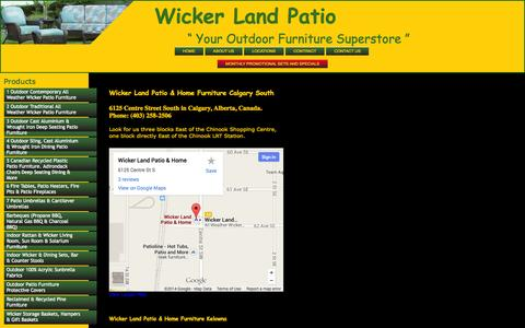 Screenshot of Locations Page wickerland.ca - Wicker Land Canada Patio Furniture & Home Furniture Calgary Alberta Kelowna British Columbia - captured Oct. 9, 2014