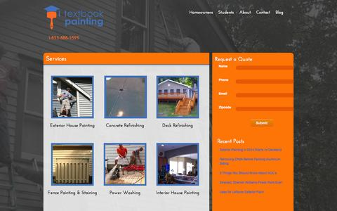 Screenshot of Services Page textbookpainting.com - Exterior and Interior Painting Services | Textbook Painting | College Student House Painters - captured Oct. 9, 2014