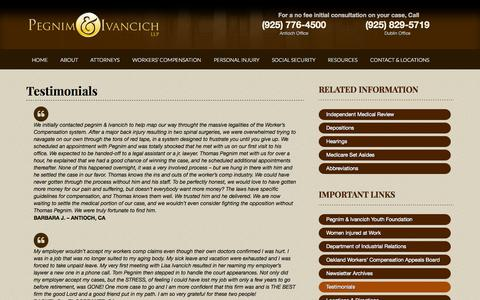 Screenshot of Testimonials Page pegnimlaw.com - Testimonials - Pegnim & Ivancich - captured Oct. 2, 2014