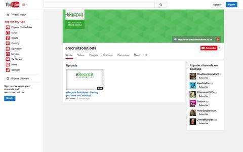 Screenshot of YouTube Page youtube.com - erecruitsolutions  - YouTube - captured Oct. 22, 2014