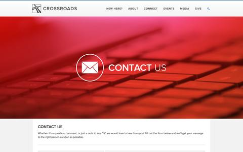 Screenshot of Contact Page crossroadschristian.org - Contact Us — Crossroads Christian Church - captured April 27, 2016