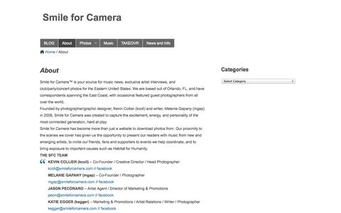 Screenshot of About Page smileforcamera.com - About | SFC - captured Oct. 7, 2014