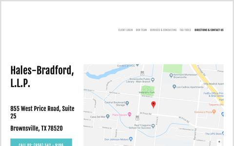 Screenshot of Contact Page Maps & Directions Page halesbradford.com - Directions & Contact Us — HALES BRADFORD - captured Nov. 9, 2018