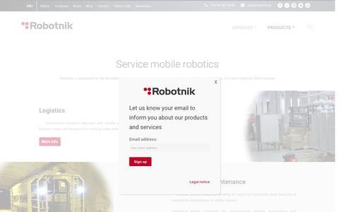 Screenshot of Services Page robotnik.eu - Services Mobile Robotics Applications | Robotnik - captured Feb. 25, 2018