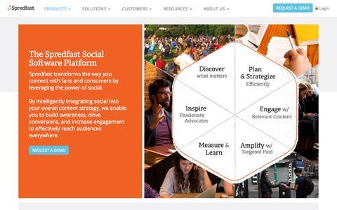 Screenshot of Products Page spredfast.com - Social Media Marketing Platform | Listening, Amplification, Management Tools | Spredfast - captured Oct. 14, 2015