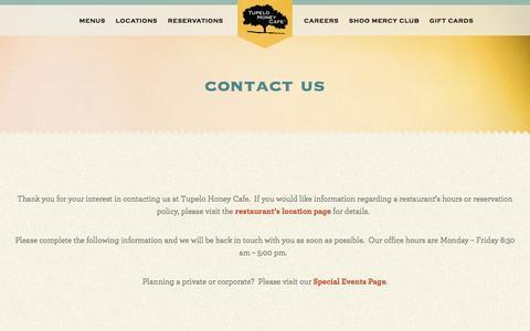 Screenshot of Contact Page tupelohoneycafe.com - Contact Us - Tupelo Honey Cafe - captured Aug. 16, 2016
