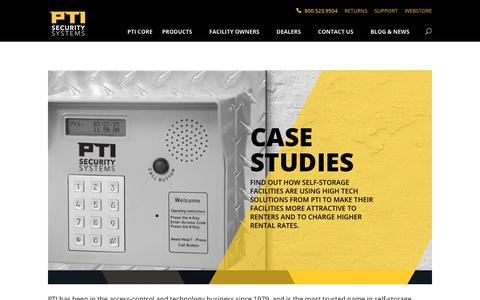 Screenshot of Case Studies Page ptisecurity.com - Case Studies - PTI Security Systems - captured Oct. 21, 2018