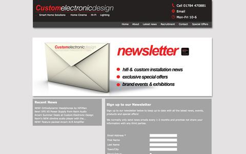 Screenshot of Signup Page customelectronicdesign.co.uk - Sign up to Newsletter   Custom Electronic Design - captured Oct. 3, 2014