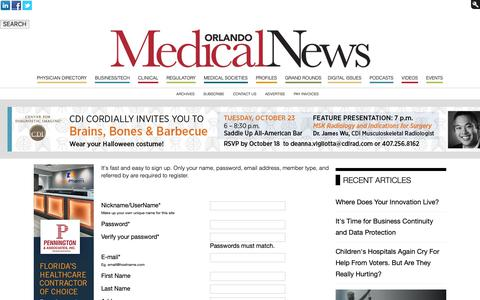 Screenshot of Signup Page orlandomedicalnews.com - Orlando Medical News - captured Oct. 20, 2018