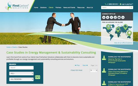 Screenshot of Case Studies Page firstcarbonsolutions.com - Energy Management, Sustainability Consulting - captured Nov. 3, 2014